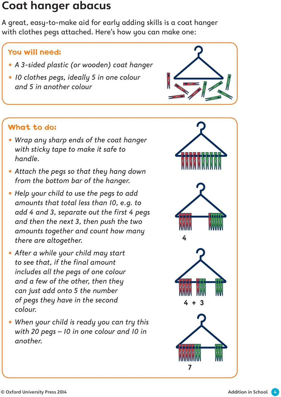 hanger with sticky tape to make it safe to handle. Attach the pegs so that they hang down from the bottom bar of the hanger. Help your child to use the pegs to add amounts that total less than 10, e.