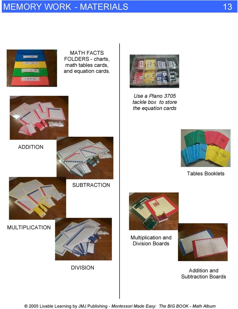 Use a Plano tackle box to store the equation cards ADDITION SUBTRACTION Tables Booklets