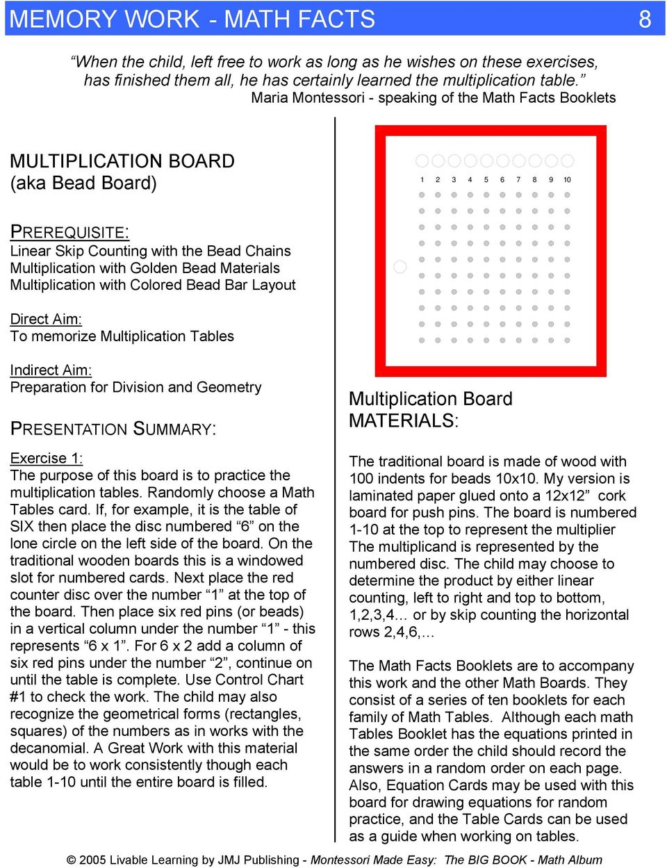 Colored Bead Bar Layout To memorize Multiplication Tables Preparation for Division and Geometry PRESENTATION SUMMARY: Multiplication Board MATERIALS: Exercise : The purpose of this board is to