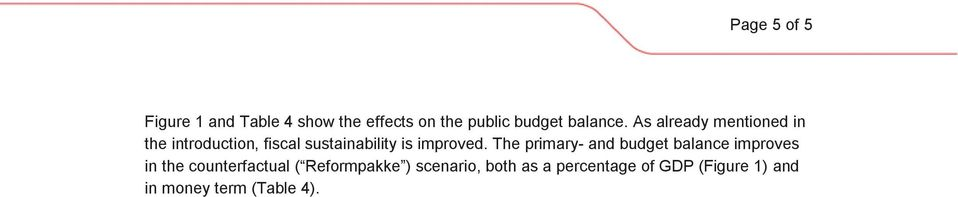 The primary- and budget balance improves in the counterfactual ( Reformpakke )