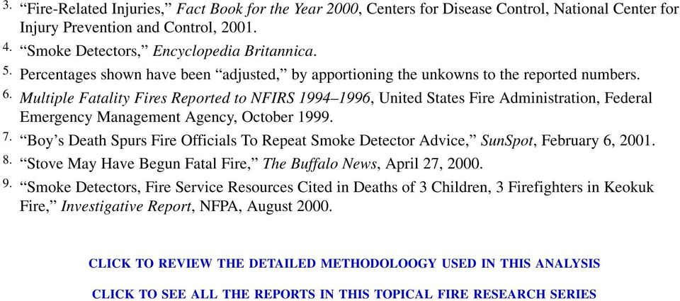 Multiple Fatality Fires Reported to NFIRS 1994 1996, United States Fire Administration, Federal Emergency Management Agency, October 1999.