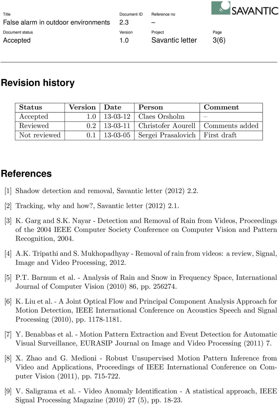 Garg and S.K. Nayar - Detection and Removal of Rain from Videos, Proceedings of the 2004 IEEE Computer Society Conference on Computer Vision and Pattern Recognition, 2004. [4] A.K. Tripathi and S.