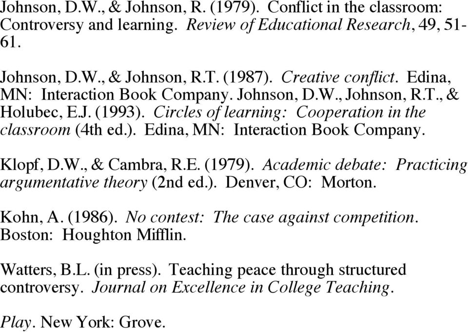 W., & Cambra, R.E. (1979). Academic debate: Practicing argumentative theory (2nd ed.). Denver, CO: Morton. Kohn, A. (1986). No contest: The case against competition.