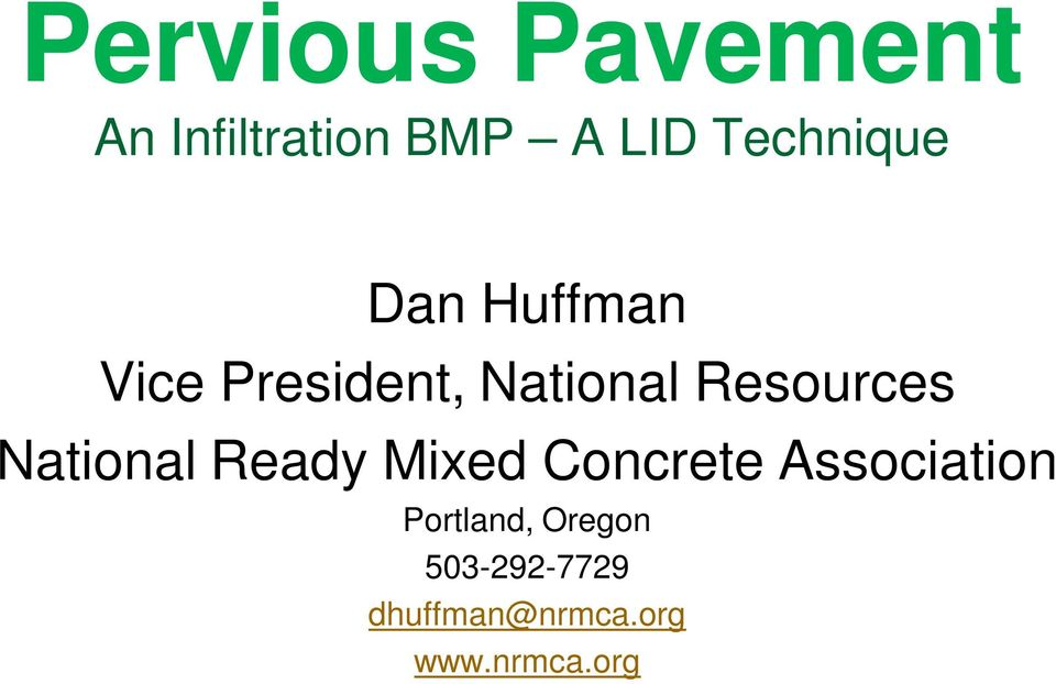 Resources National Ready Mixed Concrete Association