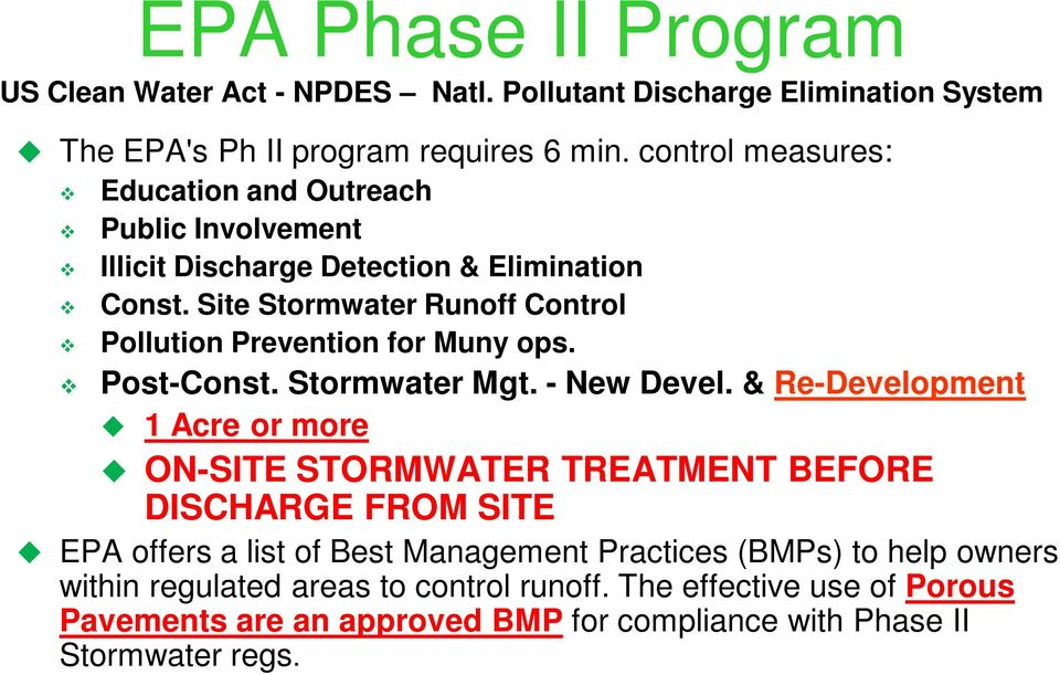 Site Stormwater Runoff Control Pollution Prevention for Muny ops. Post-Const. Stormwater Mgt. - New Devel.