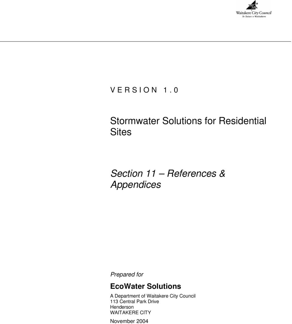 References & Appendices Prepared for EcoWater Solutions
