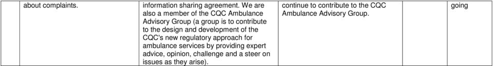 design and development of the CQC's new regulatory approach for ambulance services by