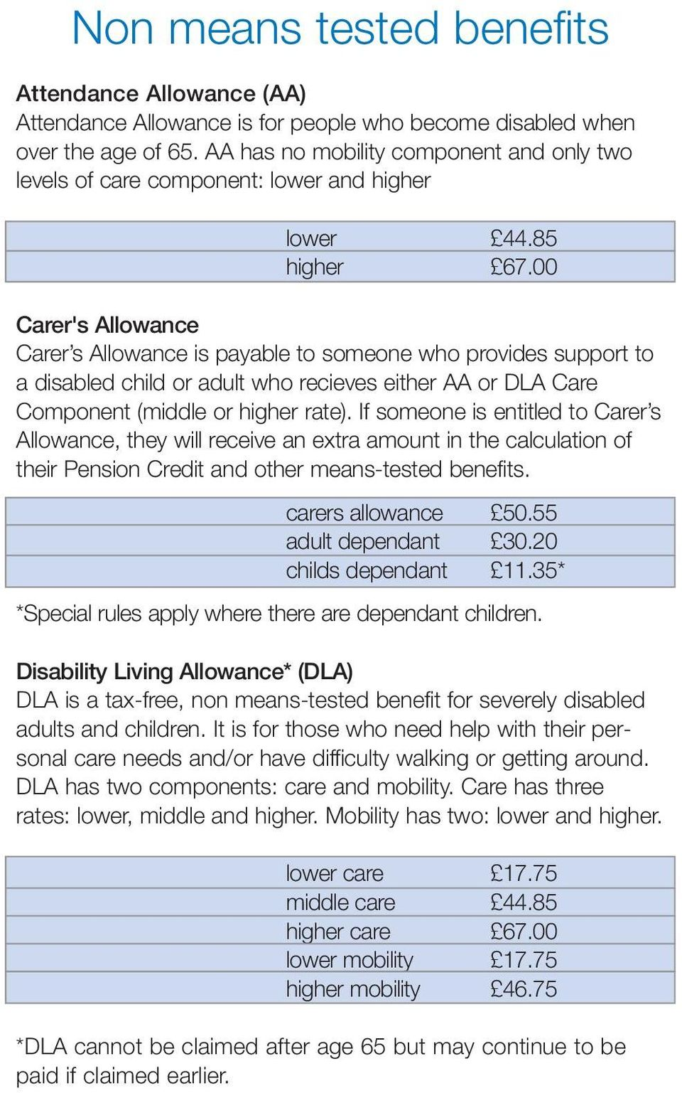 00 Carer's Allowance Carer s Allowance is payable to someone who provides support to a disabled child or adult who recieves either AA or DLA Care Component (middle or higher rate).