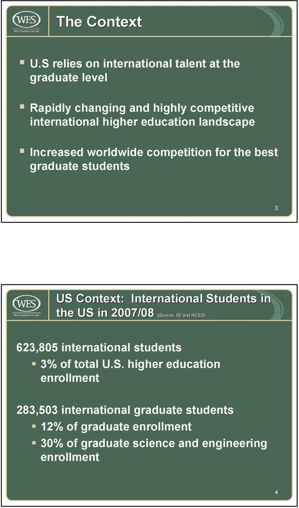 education landscape Increased worldwide competition for the best graduate students 3 US Context: International Students in