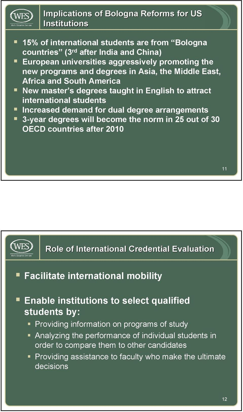 will become the norm in 25 out of 30 OECD countries after 2010 11 Role of International Credential Evaluation Facilitate international mobility Enable institutions to select qualified students by: