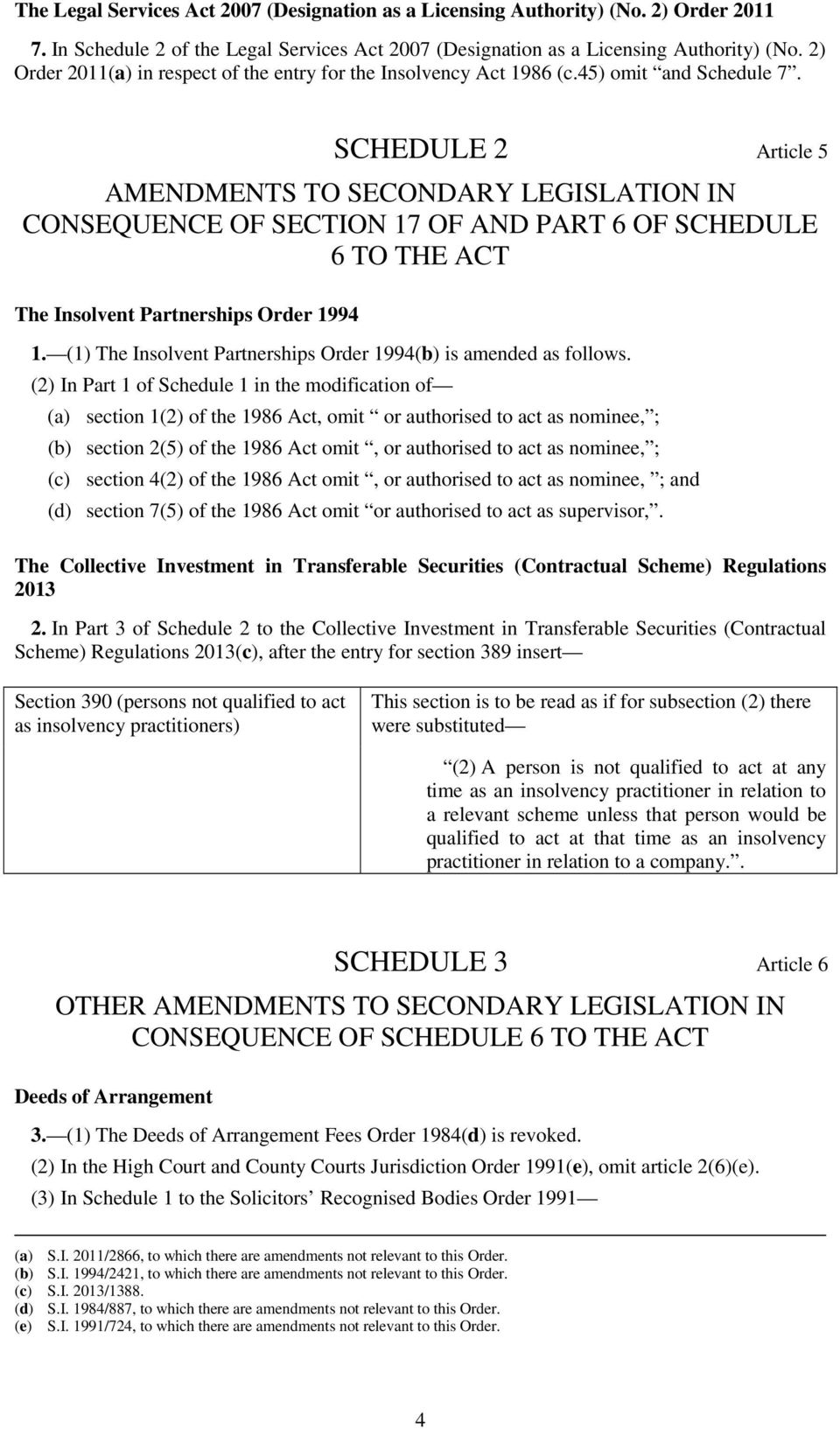 SCHEDULE 2 Article 5 AMENDMENTS TO SECONDARY LEGISLATION IN CONSEQUENCE OF SECTION 17 OF AND PART 6 OF SCHEDULE 6 TO THE ACT The Insolvent Partnerships Order 1994 1.