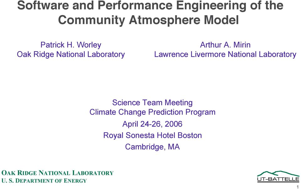 Mirin Lawrence Livermore National Laboratory Science Team Meeting