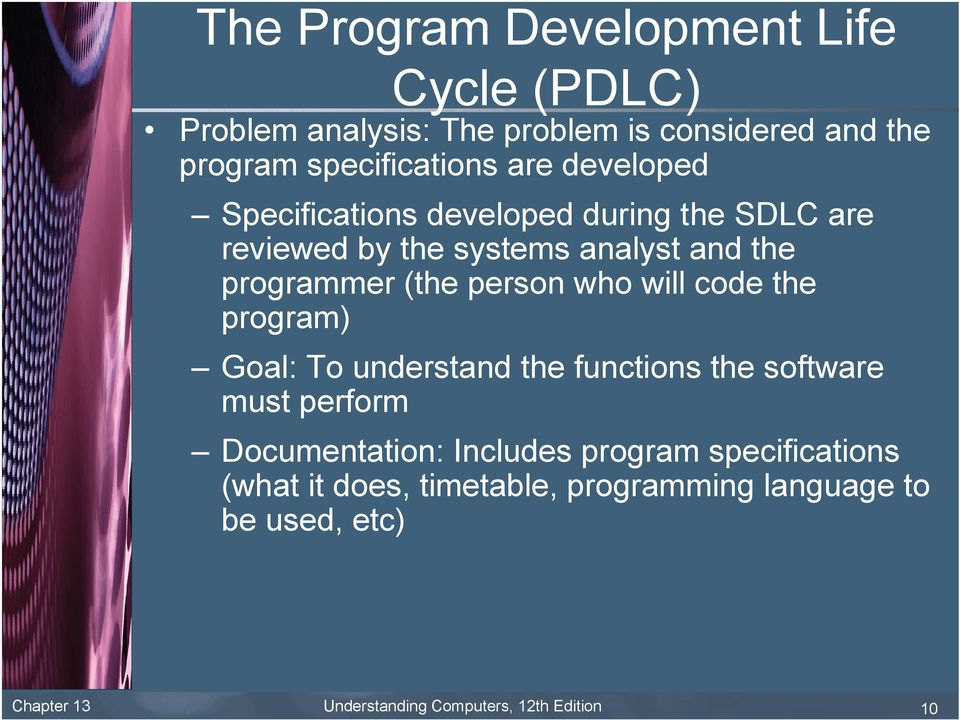 will code the program) Goal: To understand the functions the software must perform Documentation: Includes program