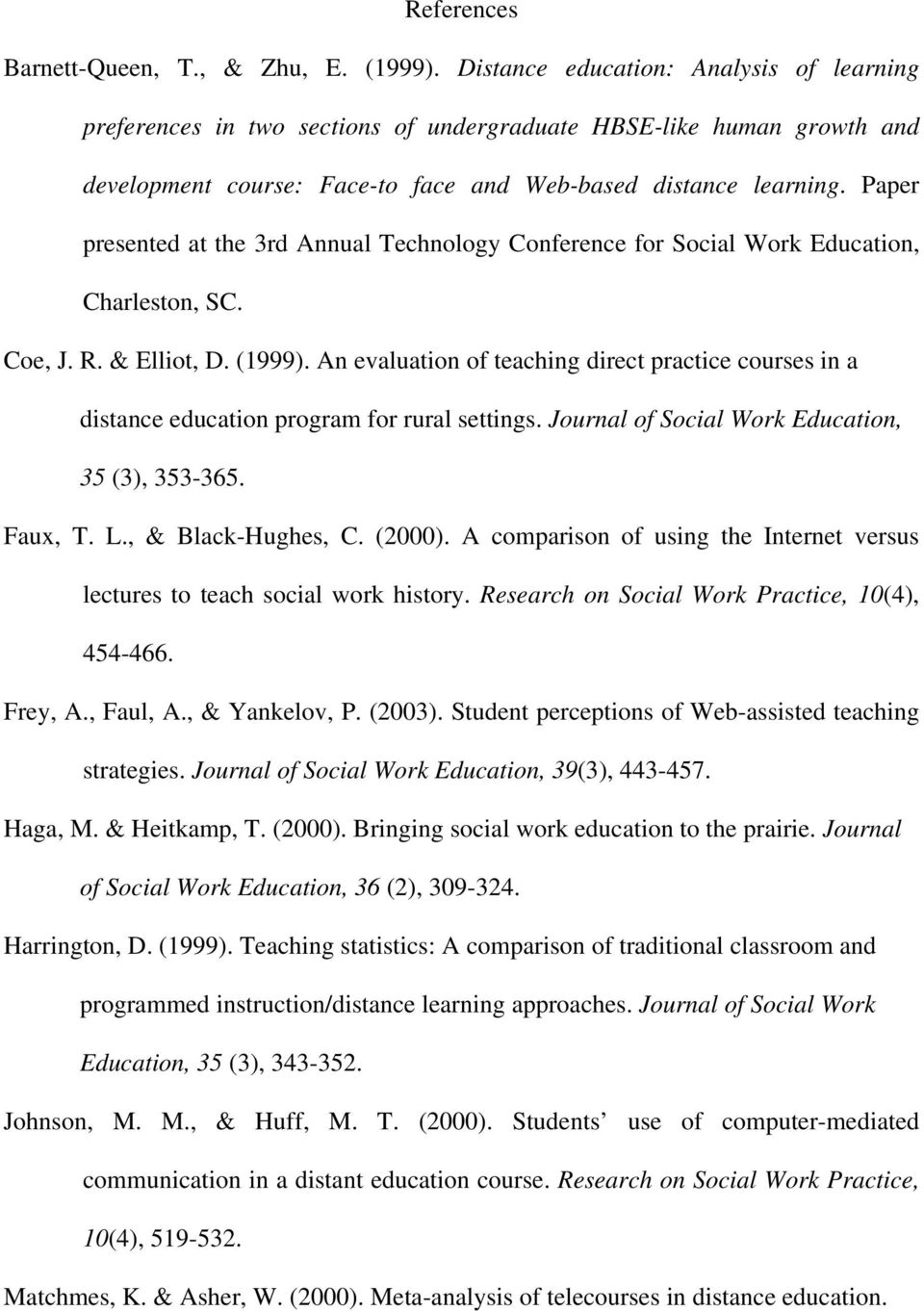 Paper presented at the 3rd Annual Technology Conference for Social Work Education, Charleston, SC. Coe, J. R. & Elliot, D. (1999).