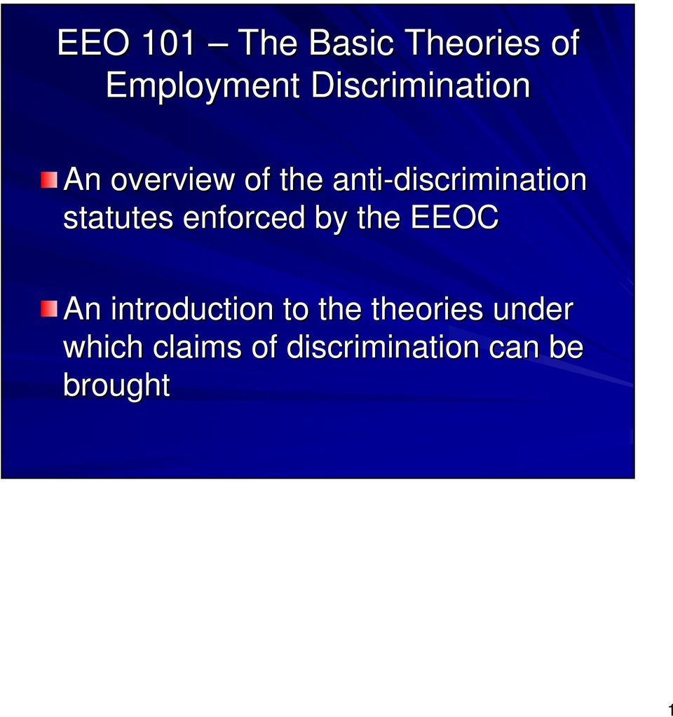 anti-discrimination statutes enforced by the EEOC An