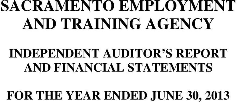 INDEPENDENT AUDITOR S
