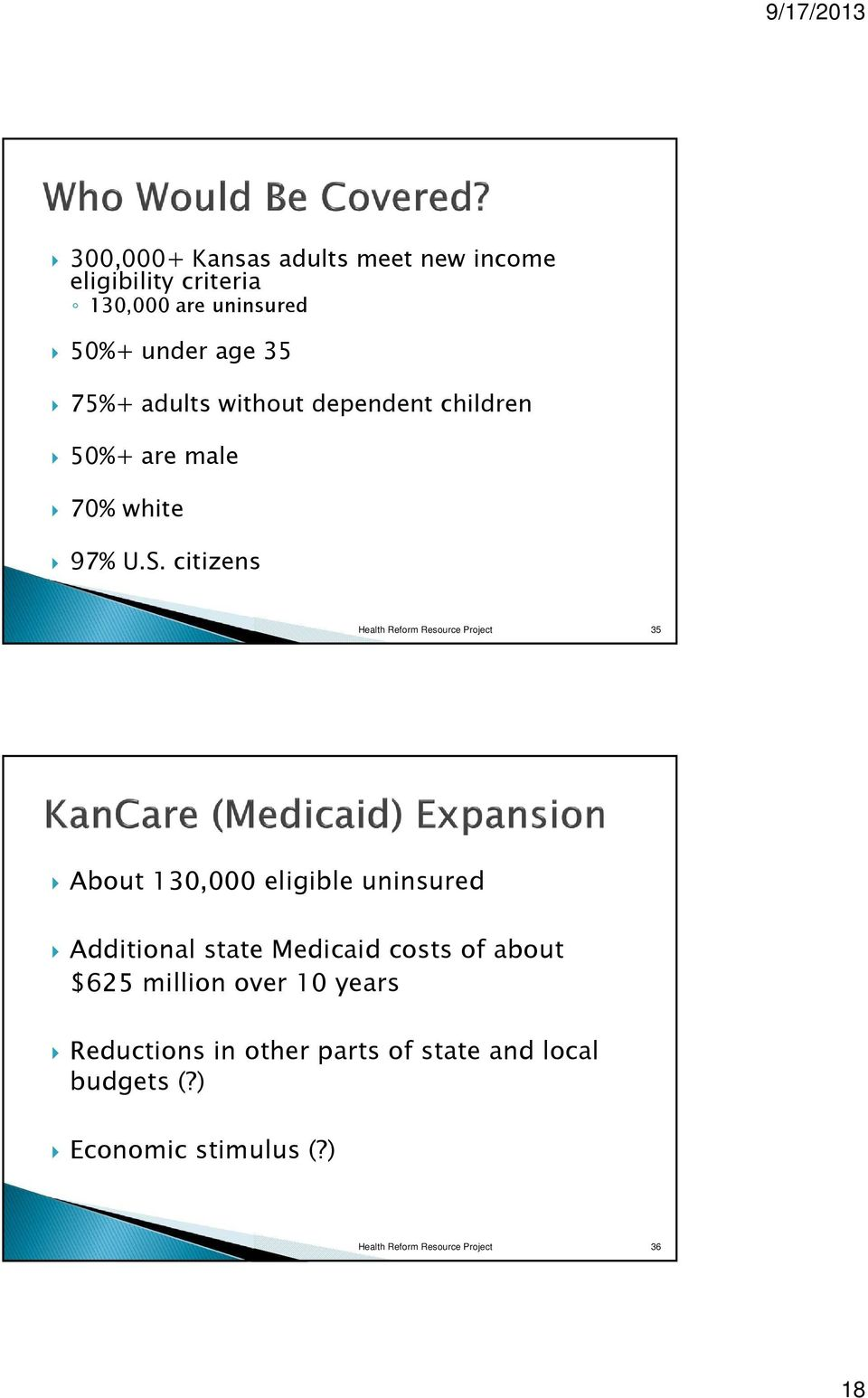 citizens Health Reform Resource Project 35 About 130,000 eligible uninsured Additional state Medicaid costs