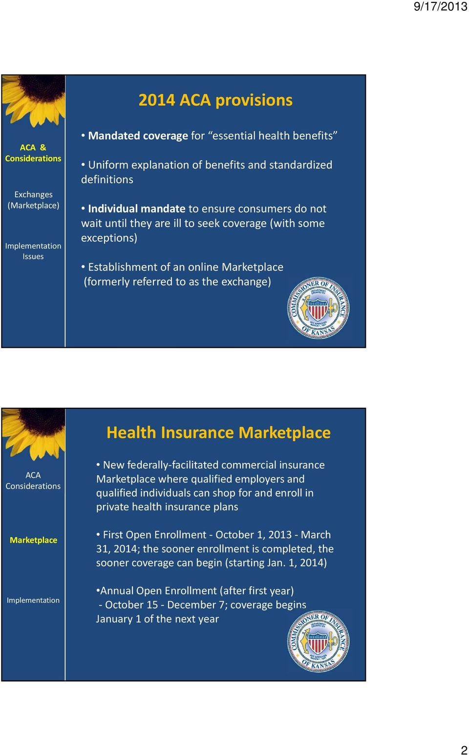 commercial insurance where qualified employers and qualified individuals can shop for and enroll in private health insurance plans First Open Enrollment October 1, 2013 March 31, 2014;