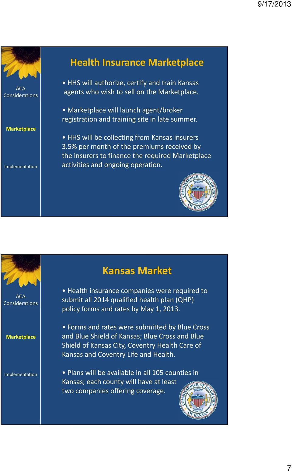 Kansas Market Health insurance companies were required to submit all 2014 qualified health plan (QHP) policy forms and rates by May 1, 2013.