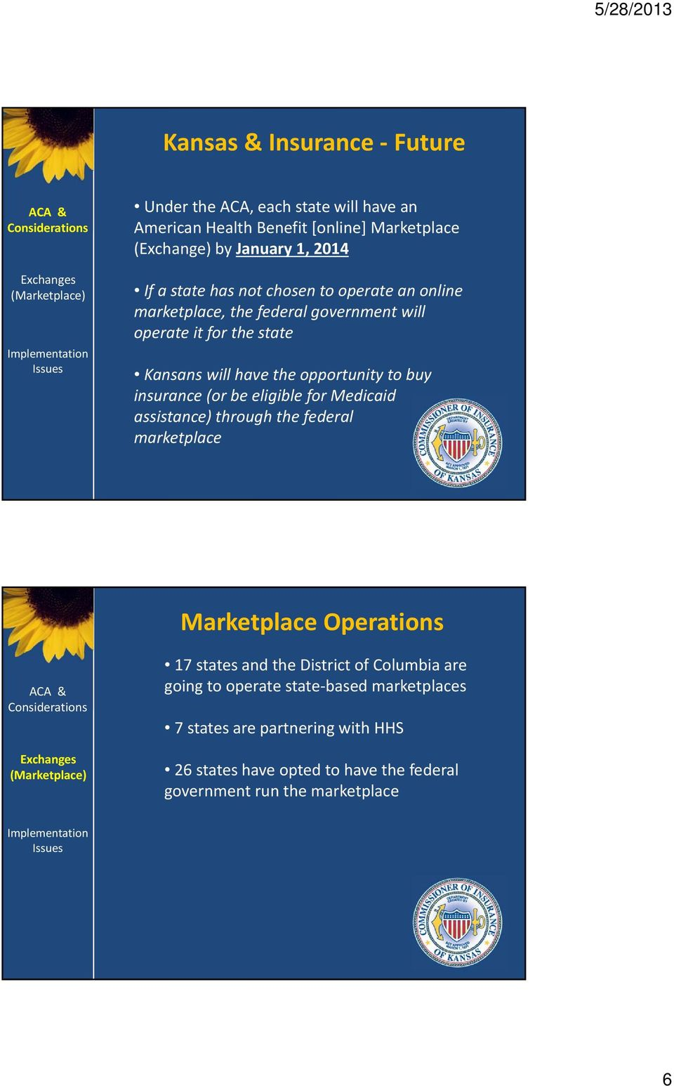 buy insurance (or be eligible for Medicaid assistance) through the federal marketplace Marketplace Operations 17 states and the District of