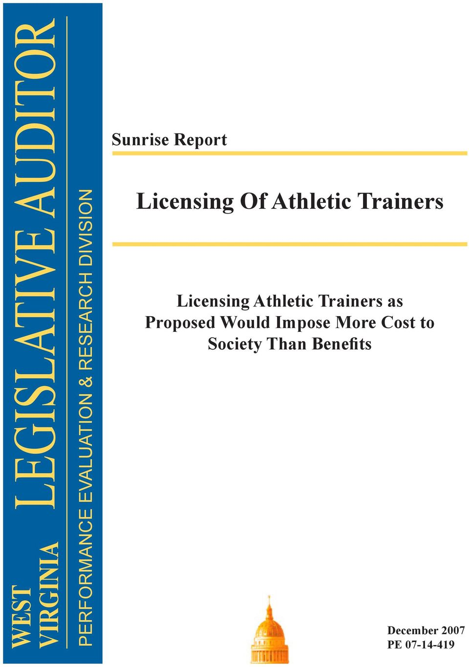Trainers Licensing Athletic Trainers as Proposed Would