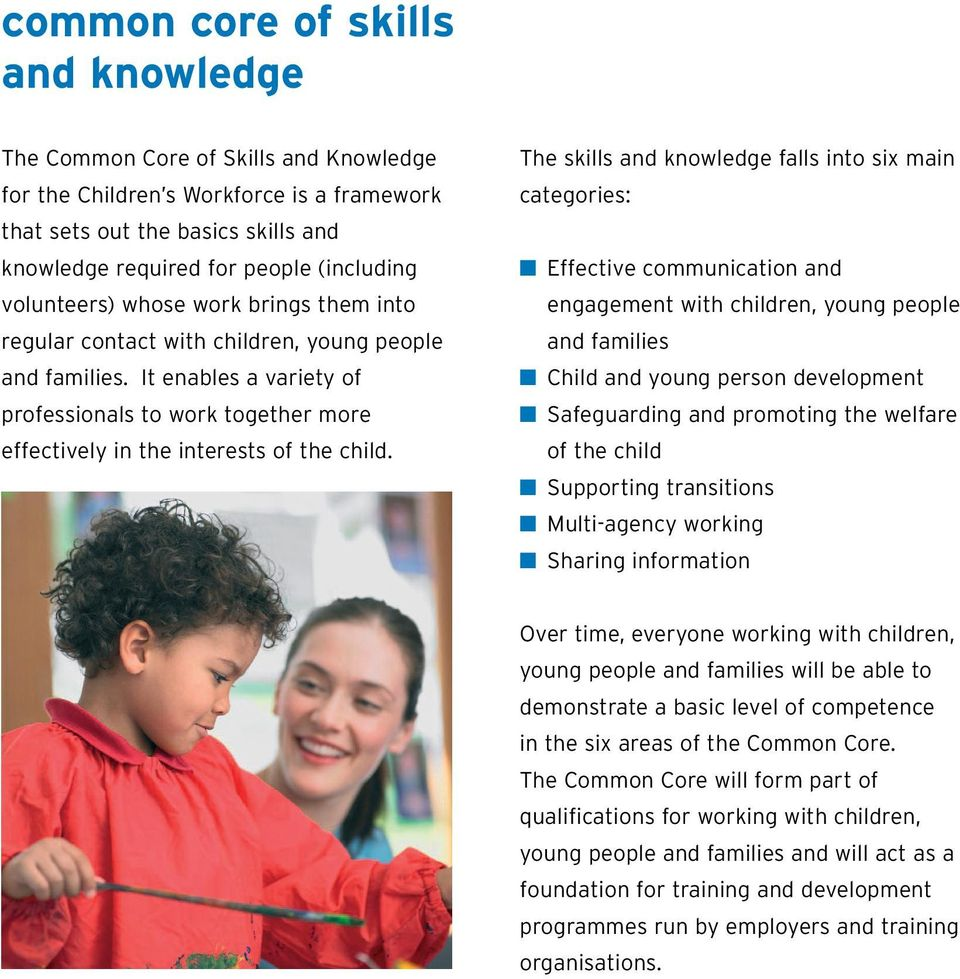 The skills and knowledge falls into six main categories: Effective communication and engagement with children, young people and families Child and young person development Safeguarding and promoting