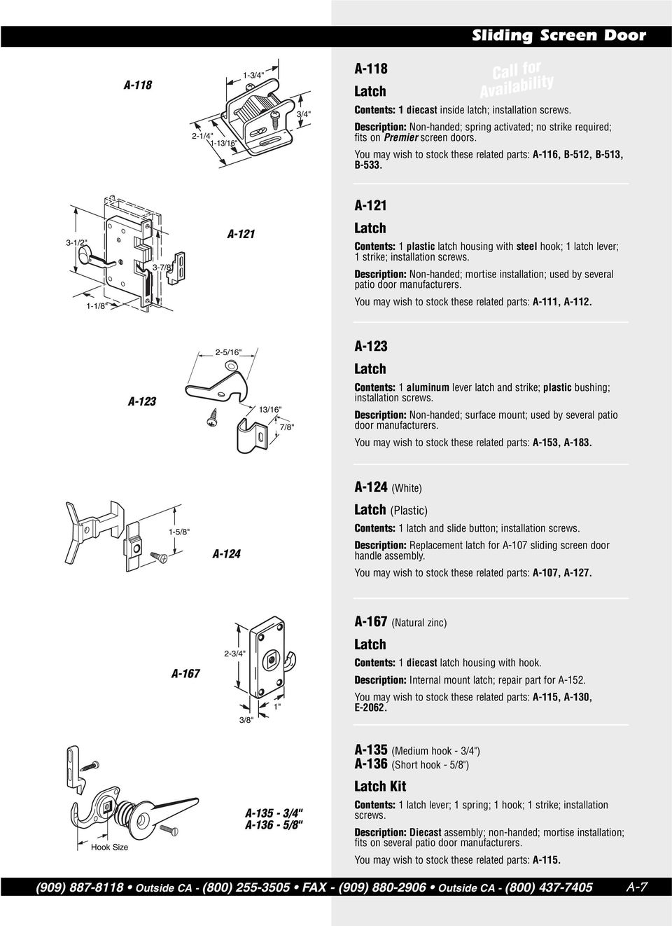A-121 3-3- A-121 Contents: 1 plastic latch housing with steel hook; 1 latch lever; 1 strike; Description: Non-handed; mortise installation; used by several patio door manufacturers.