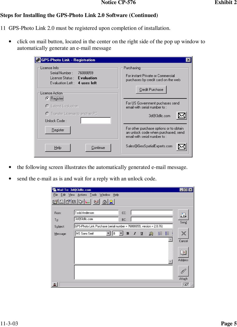 automatically generate an e-mail message the following screen illustrates the