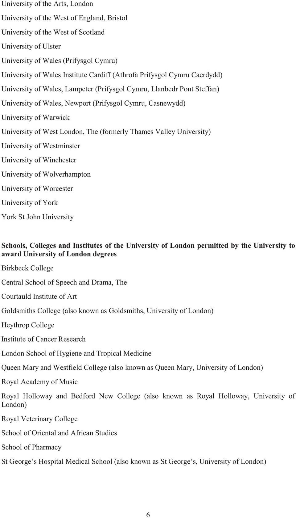 University of West London, The (formerly Thames Valley University) University of Westminster University of Winchester University of Wolverhampton University of Worcester University of York York St