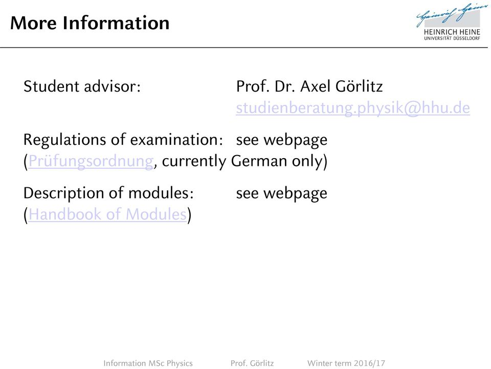 German only) Description of modules: (Handbook of