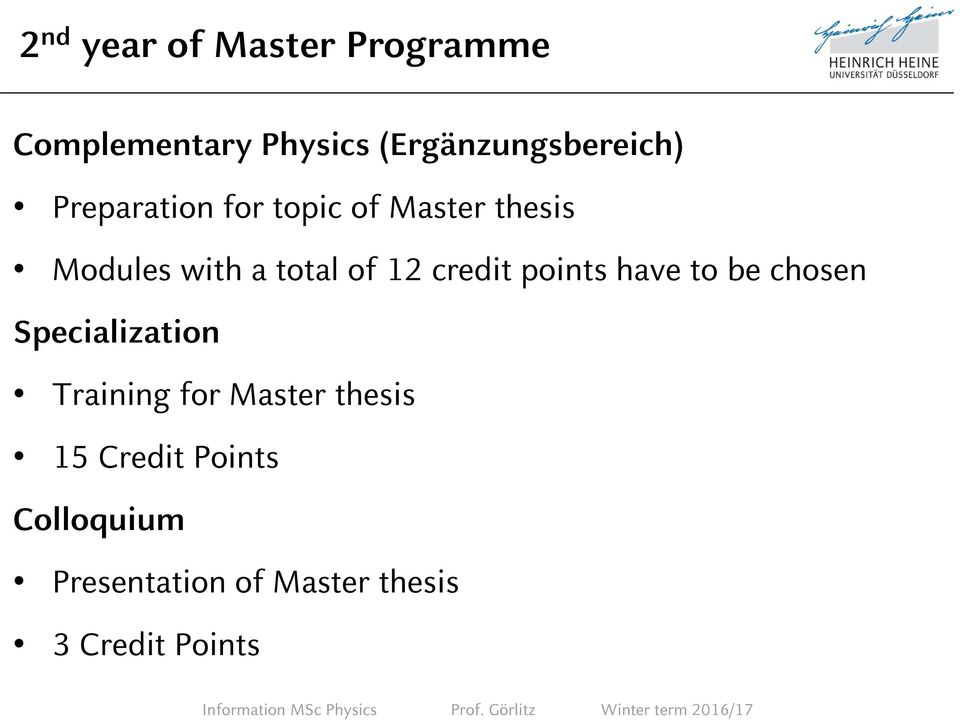credit points have to be chosen Specialization Training for Master