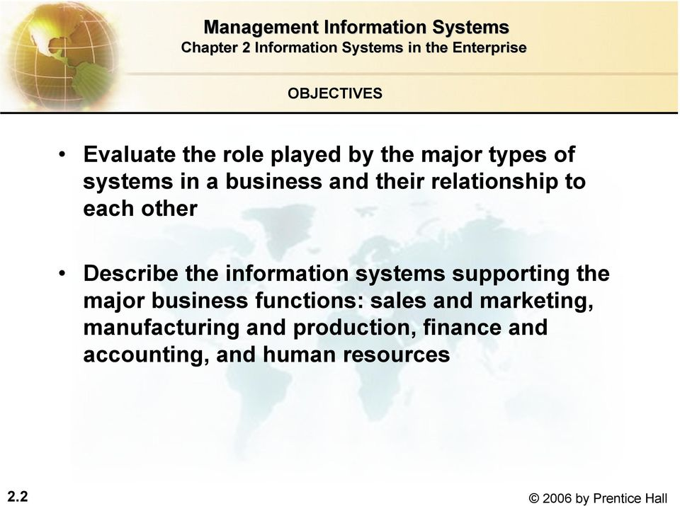 systems supporting the major business functions: sales and marketing,
