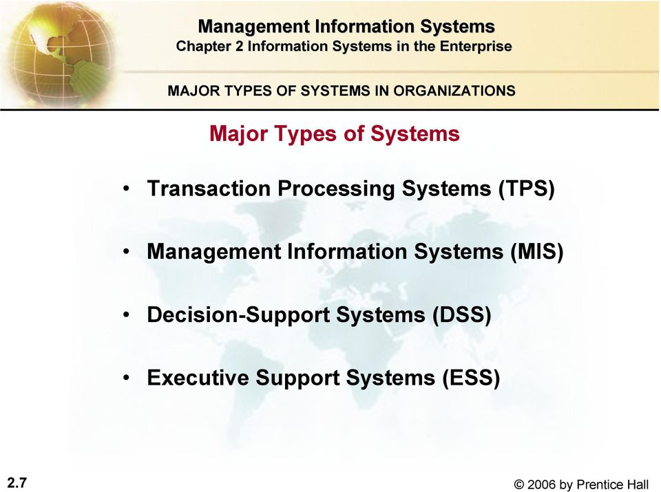 Information Systems (MIS) Decision-Support Systems (DSS)
