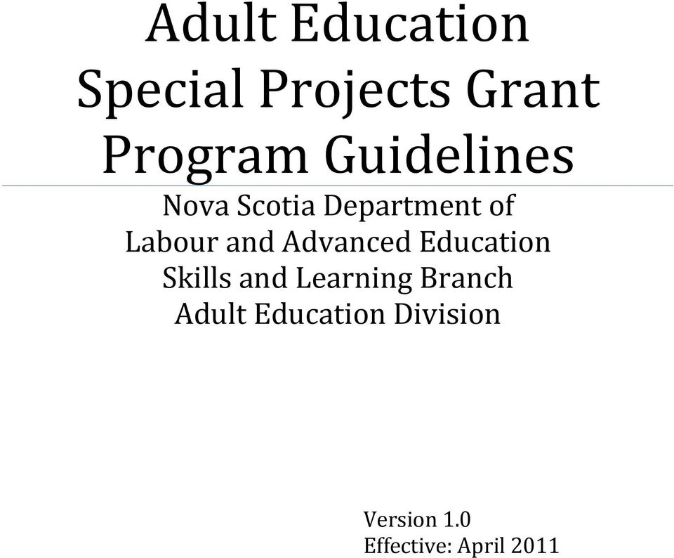 Education Skills and Learning Branch Adult