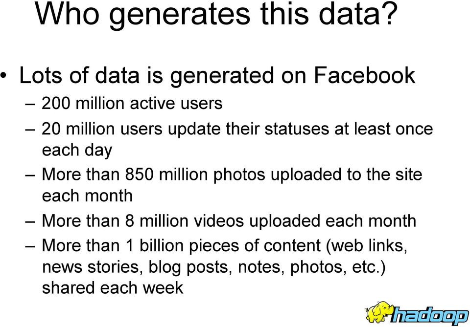 statuses at least once each day More than 850 million photos uploaded to the site each month