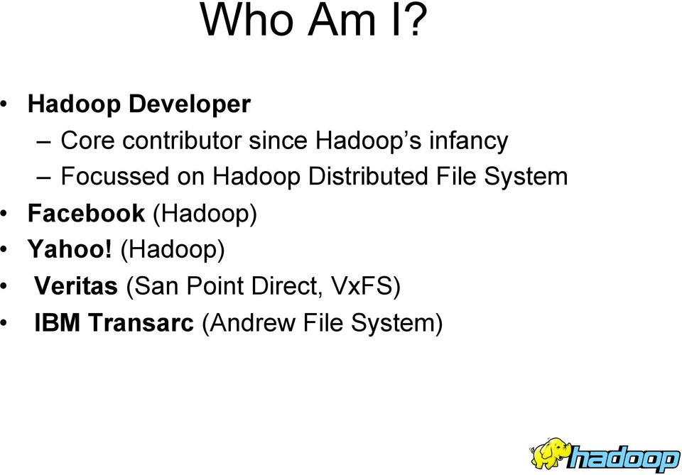 infancy Focussed on Hadoop Distributed File System