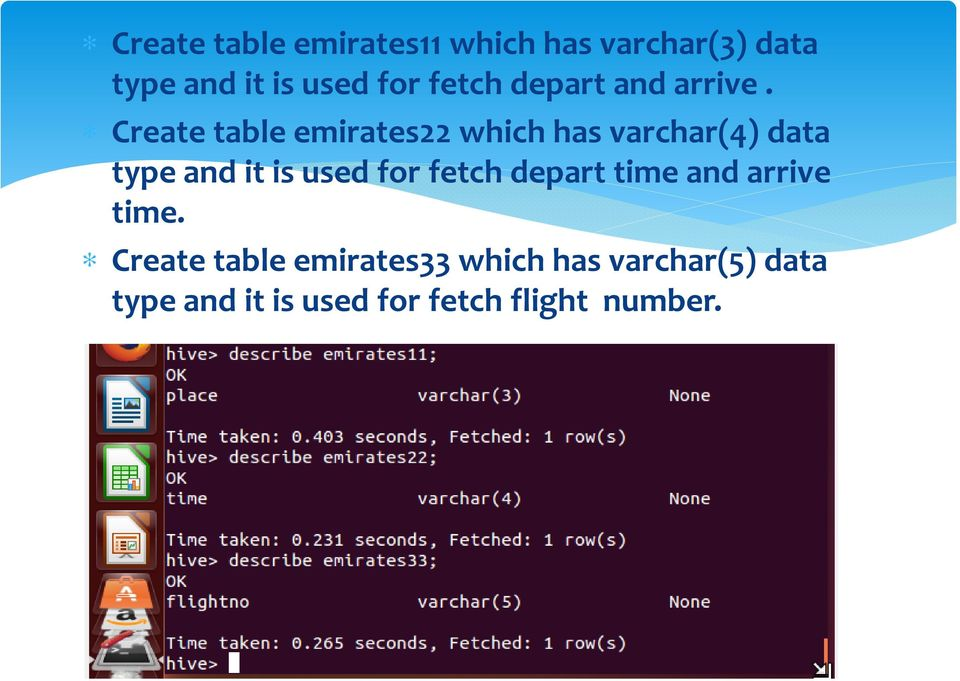 Create table emirates22 which has varchar(4) data type and it is used for