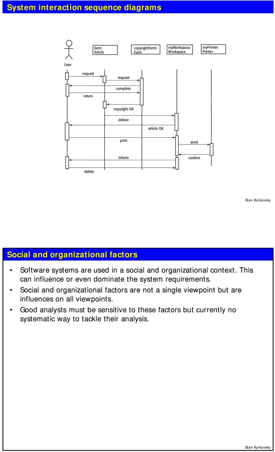 Social and organizational factors are not a single viewpoint but are influences on all viewpoints.