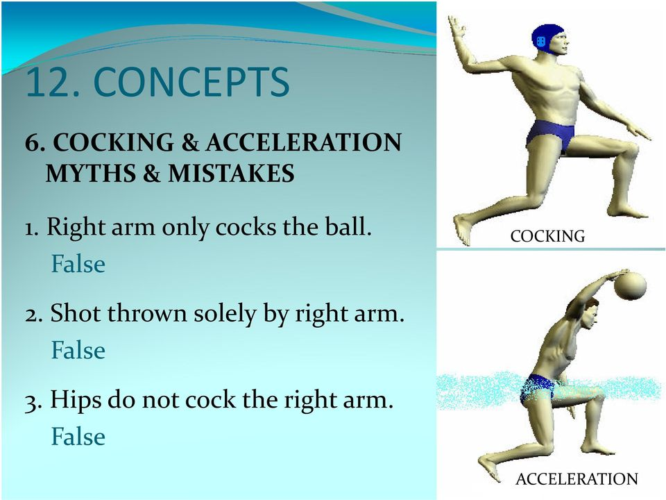 Right arm only cocks the ball. False COCKING 2.