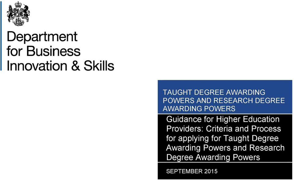Criteria and Process for applying for Taught Degree