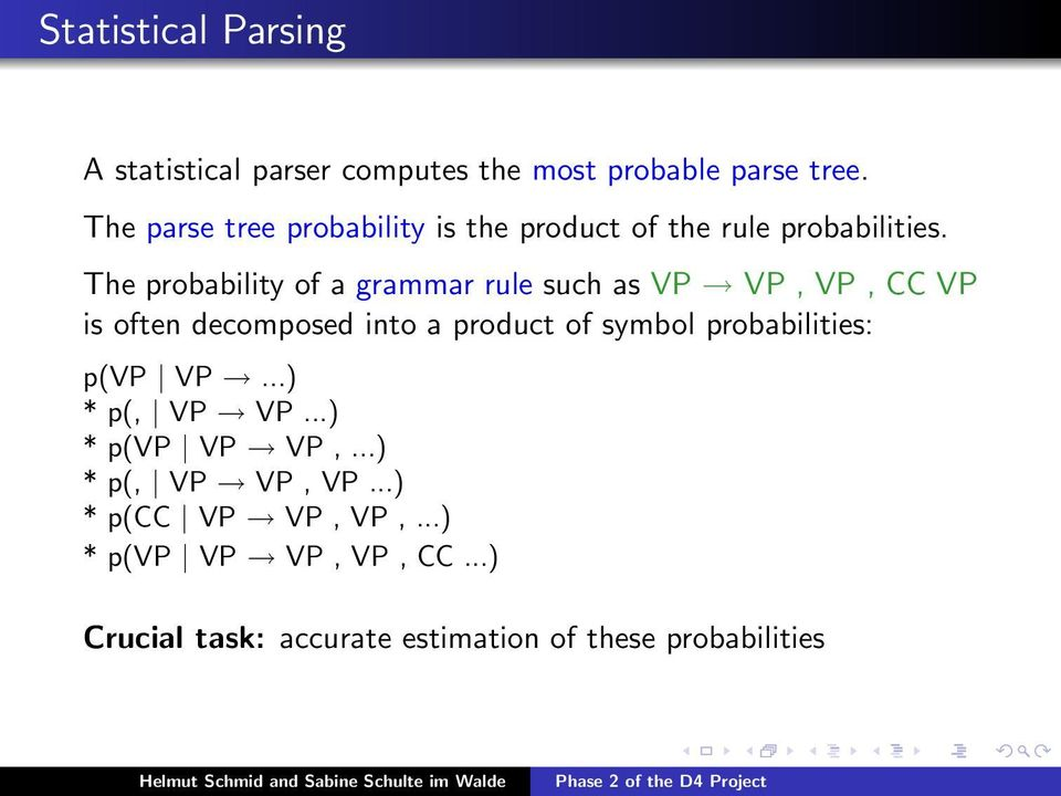 The probability of a grammar rule such as VP VP, VP, CC VP is often decomposed into a product of symbol
