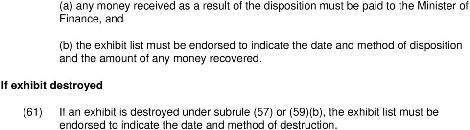 of disposition and the amount of any money recovered.