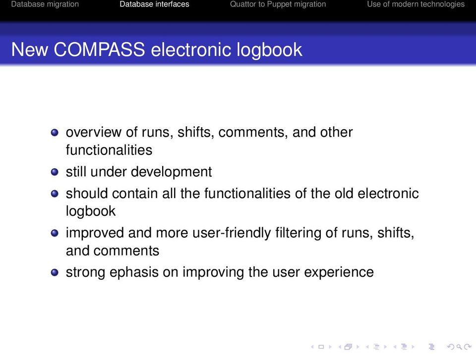functionalities of the old electronic logbook improved and more
