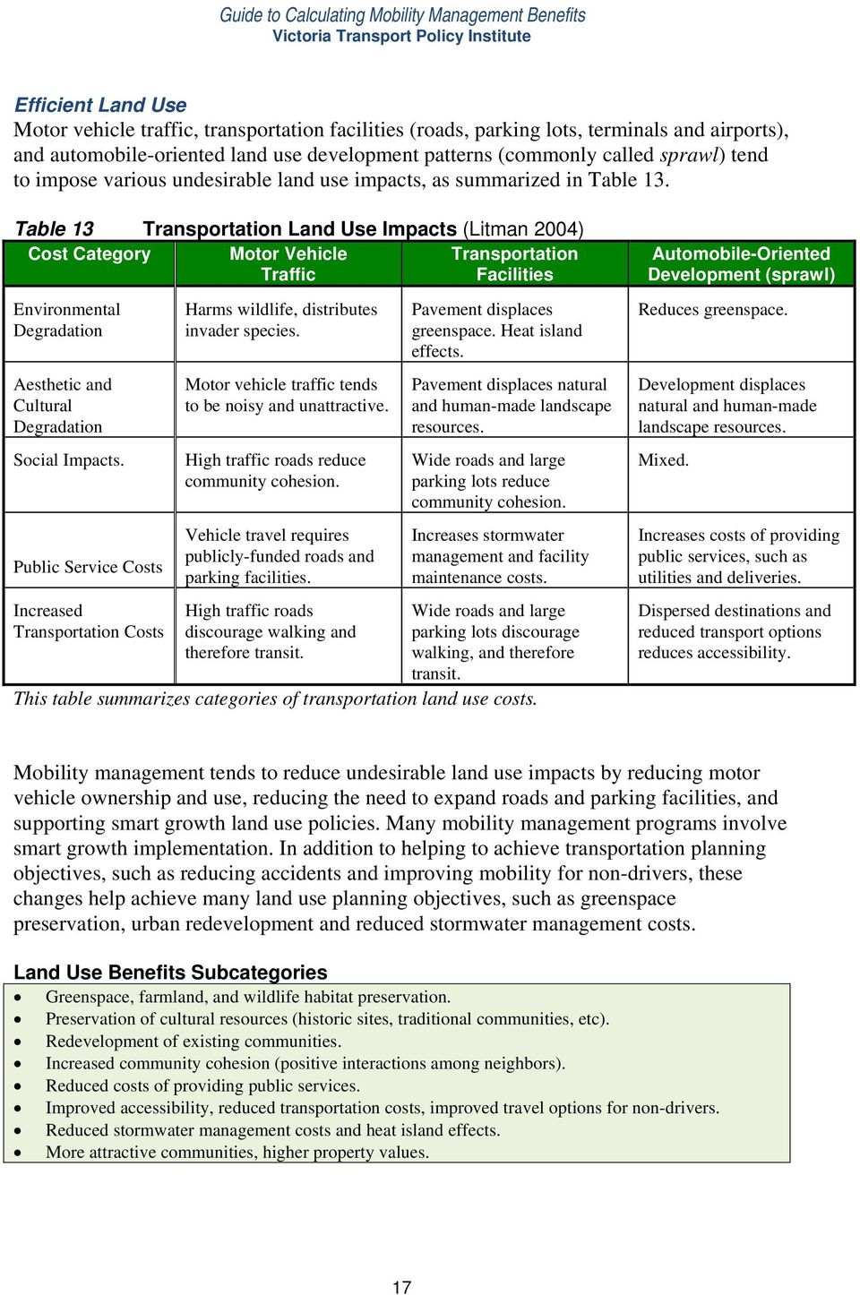 Table 13 Transportation Land Use Impacts (Litman 2004) Cost Category Motor Vehicle Traffic Transportation Facilities Environmental Degradation Aesthetic and Cultural Degradation Social Impacts.