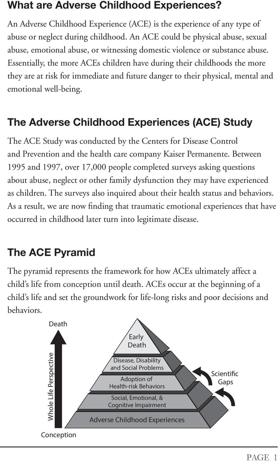 Essentially, the me ACEs children have during their childhoods the me they are at risk f immediate and future danger to their physical, mental and emotional well-being.