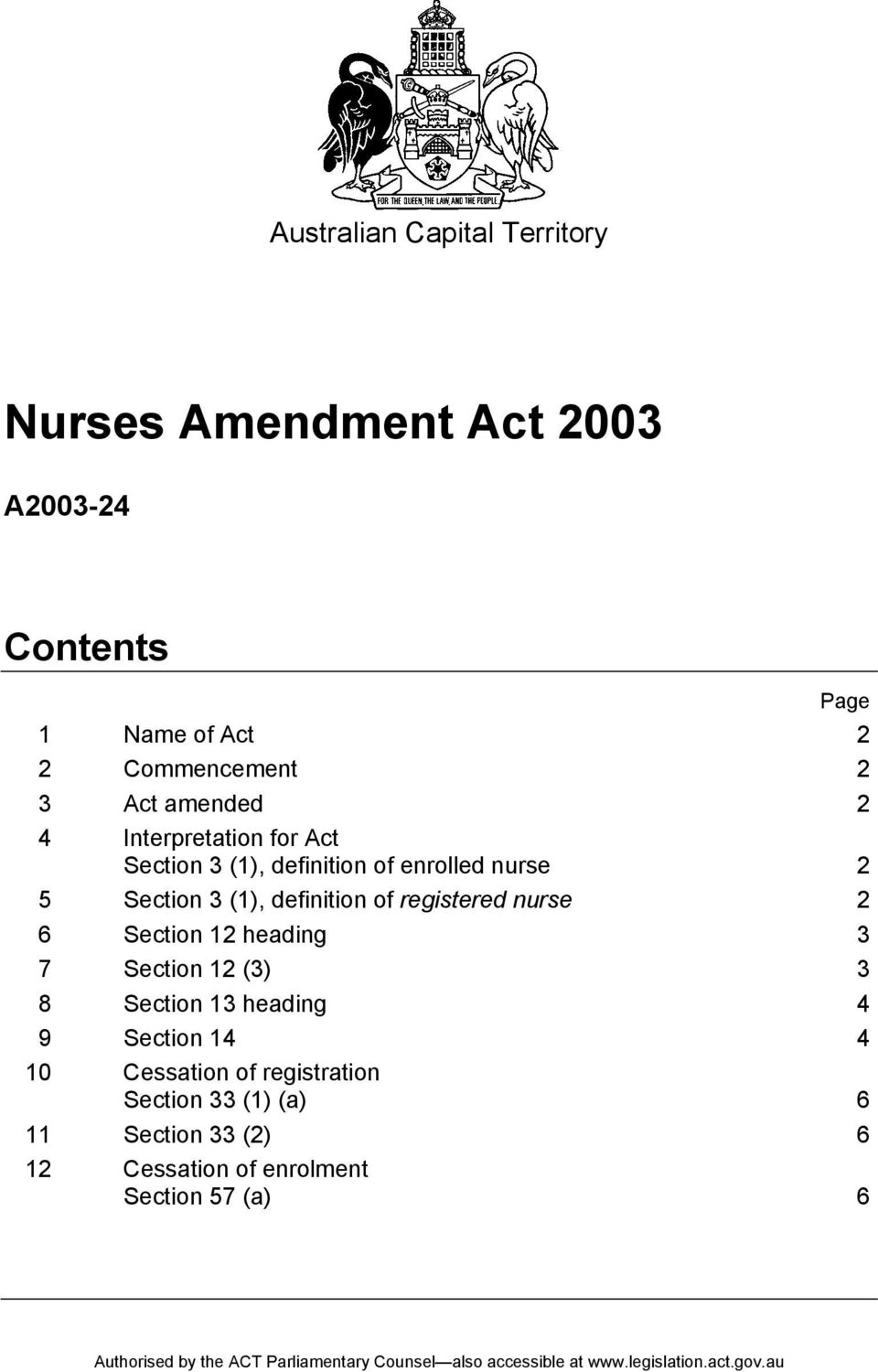 definition of registered nurse 2 6 Section 12 heading 3 7 Section 12 (3) 3 8 Section 13 heading 4 9 Section
