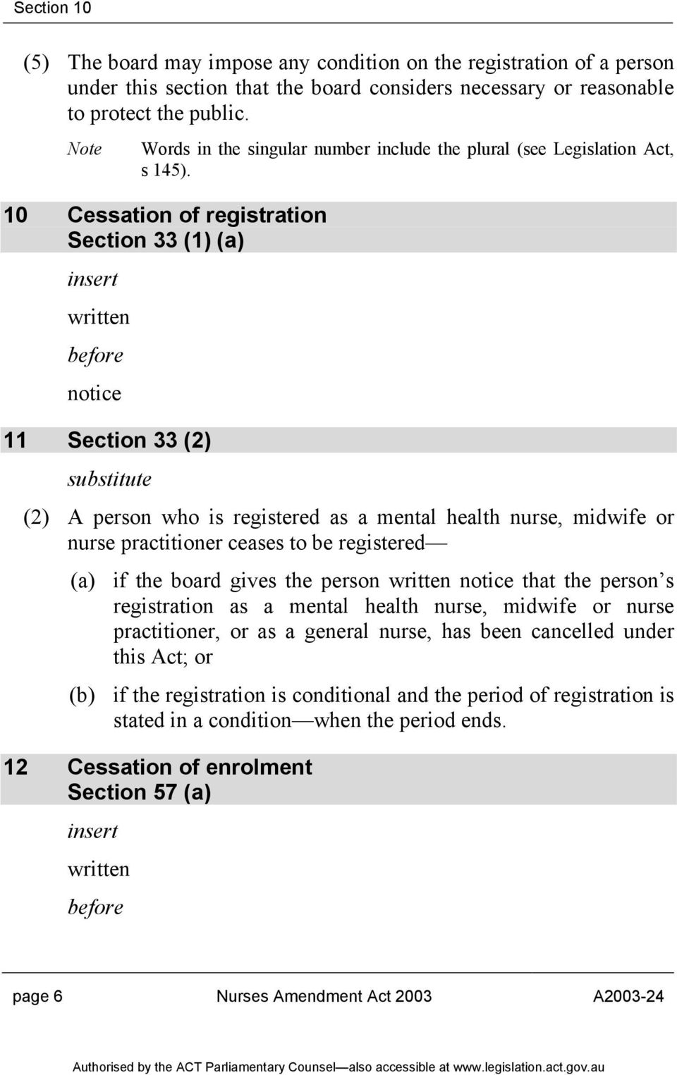 10 Cessation of registration Section 33 (1) (a) insert written before notice 11 Section 33 (2) (2) A person who is registered as a mental health nurse, midwife or nurse practitioner ceases to be