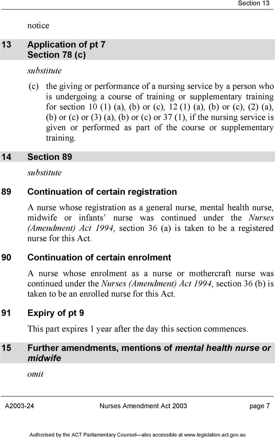 14 Section 89 89 Continuation of certain registration A nurse whose registration as a general nurse, mental health nurse, midwife or infants nurse was continued under the Nurses (Amendment) Act 1994,