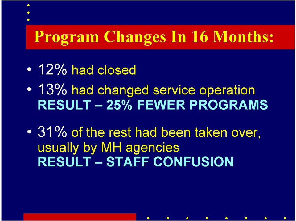 FEWER PROGRAMS 31% of the rest had been taken