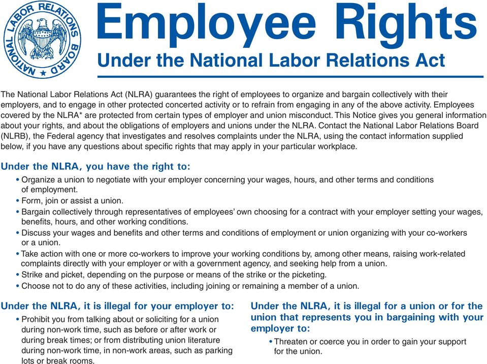 This Notice gives you general information about your rights, and about the obligations of employers and unions under the NLRA.